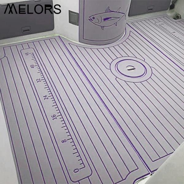 惠州EVA仿柚木灰色+紫色游艇房车船甲板地垫防潮抗UV耐磨带背胶可定制